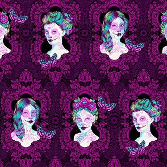Fat Quarter Possessed in Claire  - Tula Pink's De La Luna Fabric for Free Spirit Fabrics