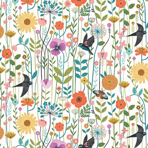 Aviary by Bethan Janine for Dashwood Studio - Fat Quarter of Swallows in the Meadow in Natural