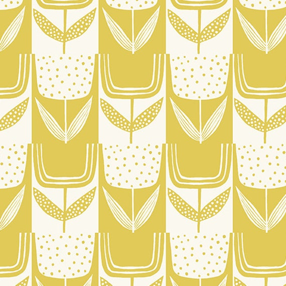 Perennial by Sarah Golden for Andover Fabrics - Fat Quarter of Patchwork Tulips in Lemon Meringue