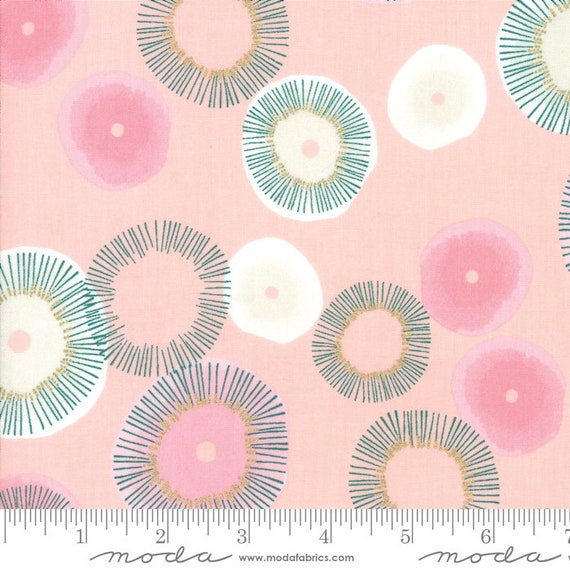 Day in Paris. -- Metallic Bubble gum in Blooming (1680 13M) by Zen Chic for Moda -- Fat Quarter