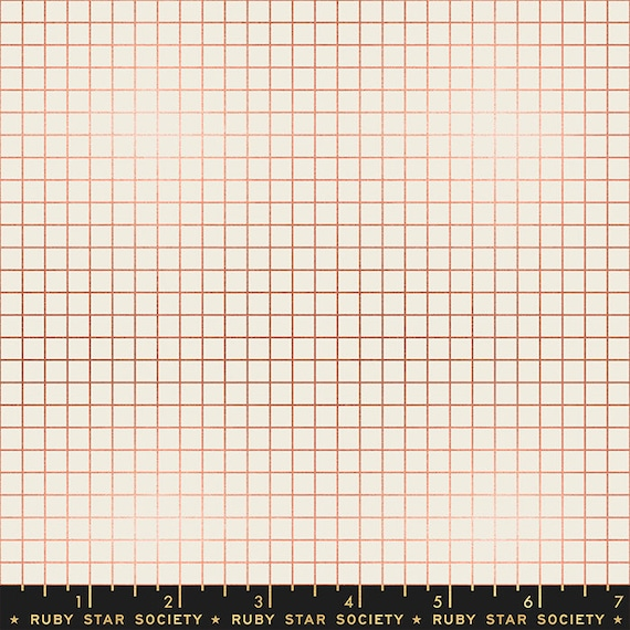 Grid -- Ruby Star Society Fabric, RS3005-31M Grid in Metallic Copper by Kimberly Kight -- Fat Quarter