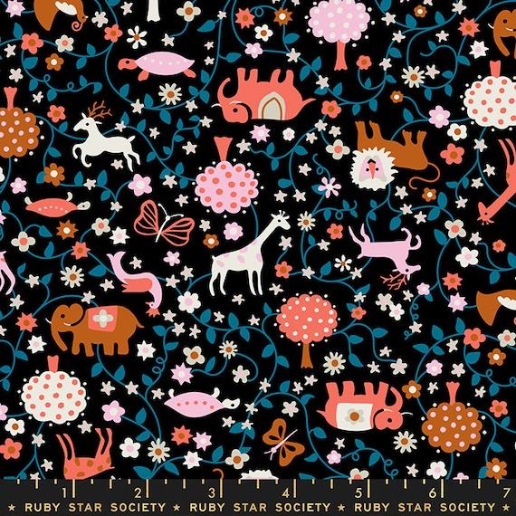 Liana-- Ruby Star Society Fabric, RS3009-14  Liana in Black by Kimberly Kight -- Fat Quarter