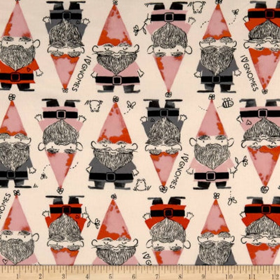 Front Yard -- Gnomes in Red by Sarah Watts for Cotton and Steel