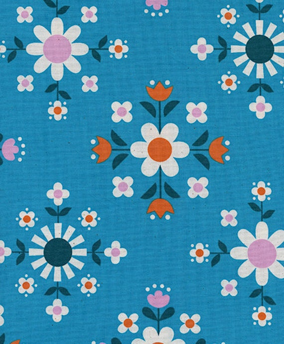 Welsummer by Kimberly Kight for Cotton and Steel -- Fat Quarter of Florametry in Bright Blue