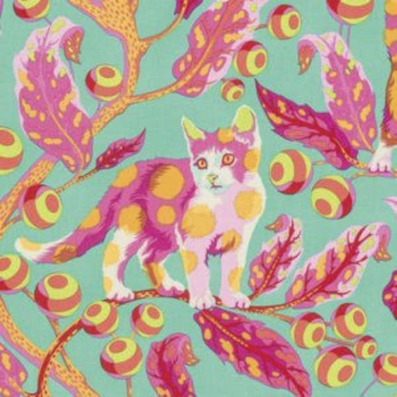 Fat Quarter Disco Kitty in Strawberry Fields - Tula Pink's Tabby Road