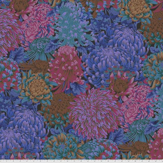 Kaffe Fassett Collective August 2021 -- Fat Quarter of Philip Jacobs Hokusai's Mums in Dark