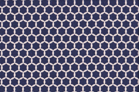 Japanese cotton fat quarter by Kei - Geostyle hexacomb dots in navy.