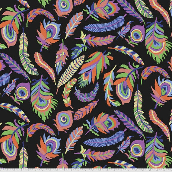 Kaffe Fassett Collective August 2021 -- Fat Quarter of Brandon Mably Tickle My Heart in Black