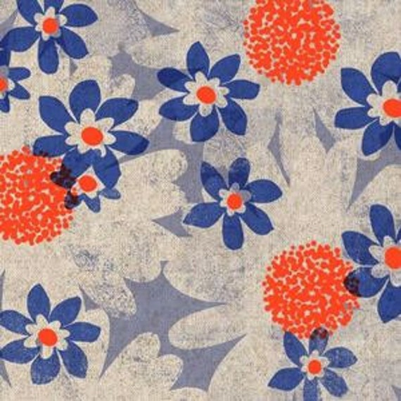 Daisy Fields CANVAS in Blue from the Trinket collection by Melody Miller for Cotton and Steel