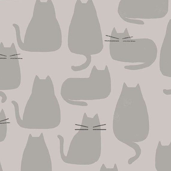 Whiskers and Dash by Sarah Golden for Andover Fabrics - Fat Quarter of Whiskers in Concrete (A-9168-CL)