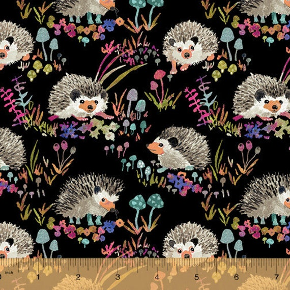 Fox Wood by Betsy Olmsted for Windham Fabrics - Fat Quarter of  43499A-S Hedgehogs in Black
