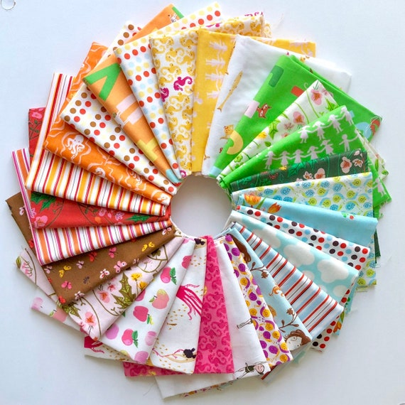 Mixed Fat Quarter Bundle of Carious Fabrics  by Heather Ross for Windham Fabrics