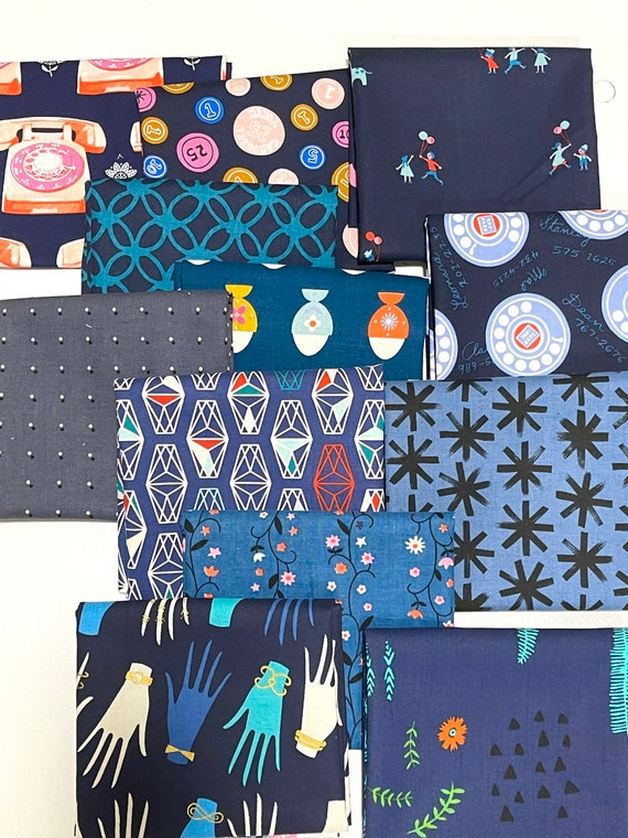 Cotton and Steel Mid Blues Bundle of 12 as Shown in Photo