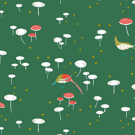 Andover - Lizzy House - The Lovely Hunt - Toadstools in Forest Green