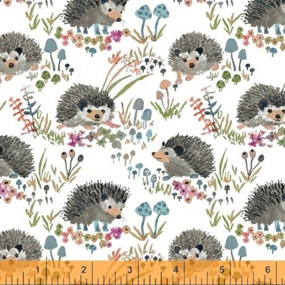 Fox Wood by Betsy Olmsted for Windham Fabrics - Fat Quarter of  43499A-1 Hedgehogs in White