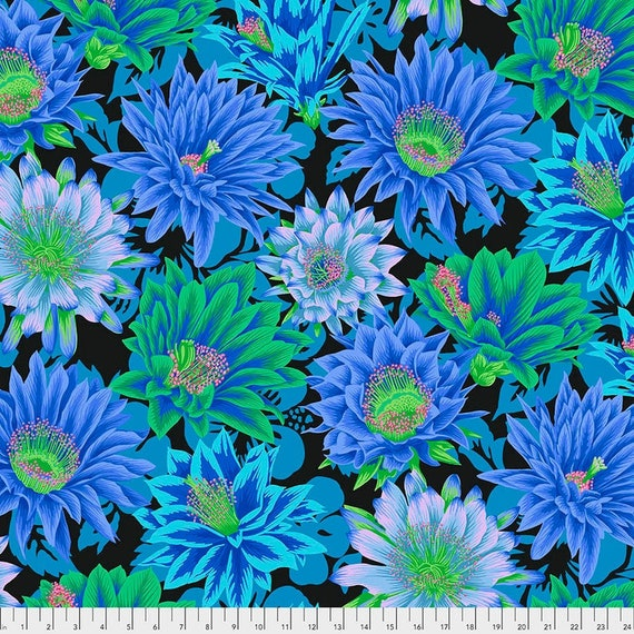 Kaffe Fassett Collective February 2021 -- Fat Quarter of Philip Jacobs Cactus Flower in Cool