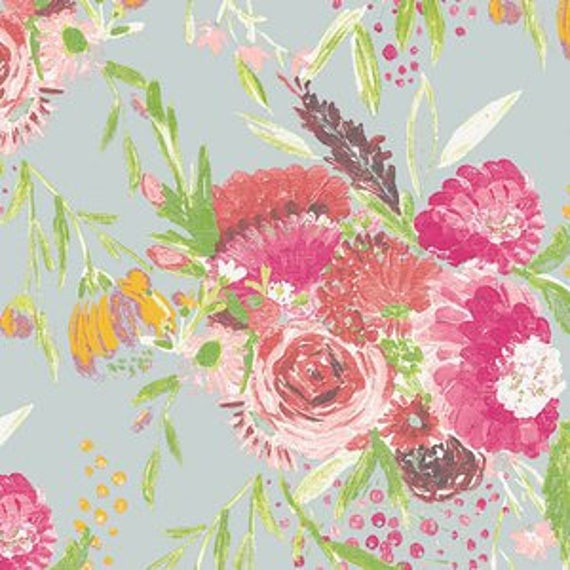 Wild Bloom by Bari J. Ackerman for Art Gallery Fabrics - Summer Bouquet in Pond - Fat Quarter