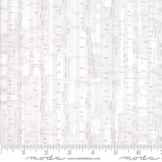 Moda Compositions Notes in White (3045212) by Zen Chic -- Fat Quarter