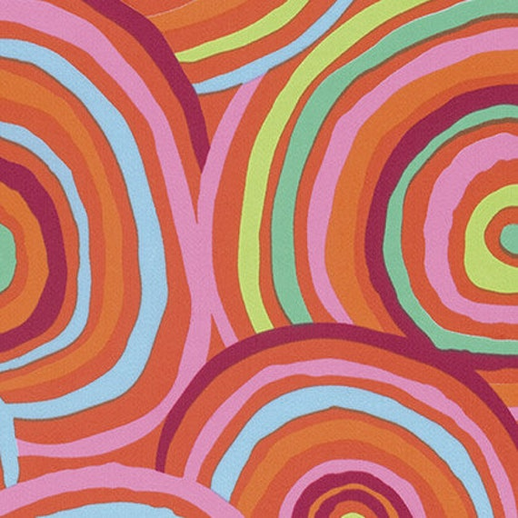 Kaffe Fassett Circles on Red -- Wide Back 108 inches - 25 cm  increment