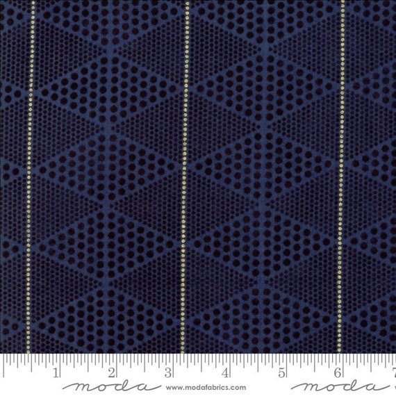 Day in Paris. -- Metallic DIamonds in Navy (1684 18M) by Zen Chic for Moda -- Fat Quarter