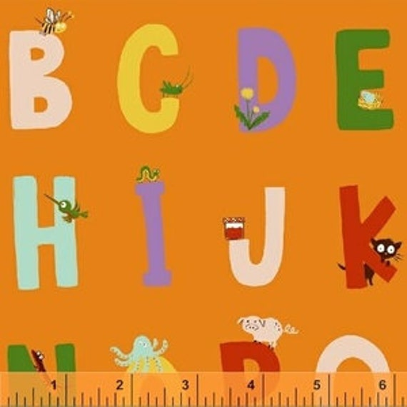 Heather Ross Kinder for Windham Fabrics - Fat Quarter Alphabet in Orange