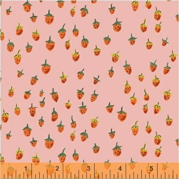 Heather Ross Trixie for Windham Fabrics - Fat Quarter Field Strawberries in Pink