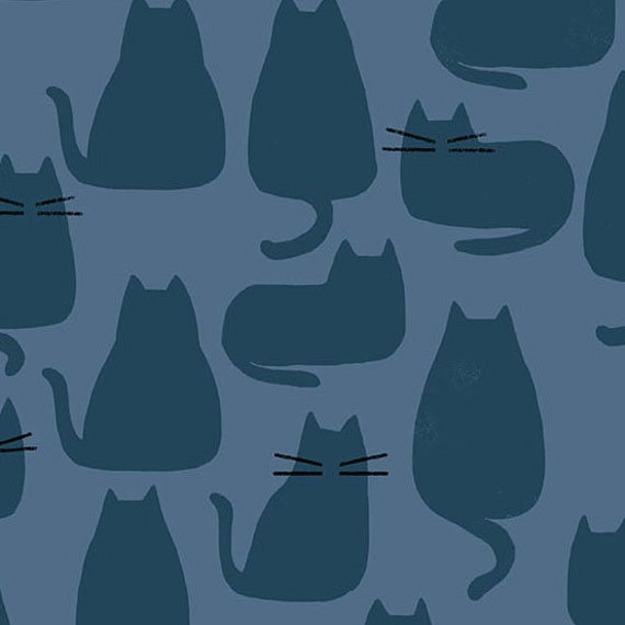 Whiskers and Dash by Sarah Golden for Andover Fabrics - Fat Quarter of Whiskers in Brine (A-9168-B1)