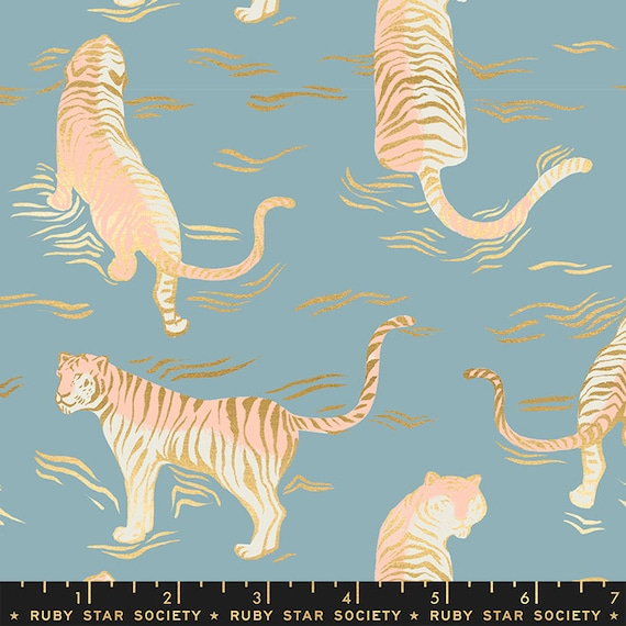 Tiger Fly -- Ruby Star Society Fabric, RS2015-12M  Tiger Fly in Metallic Soft Blue by Sarah Watts -- Fat Quarter