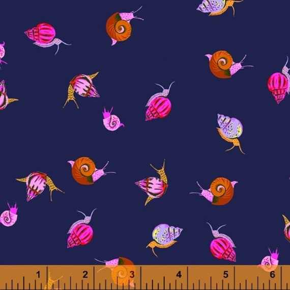 Heather Ross 20th Anniversary Collection for Windham Fabrics - Fat Quarter of Snails in Indigo