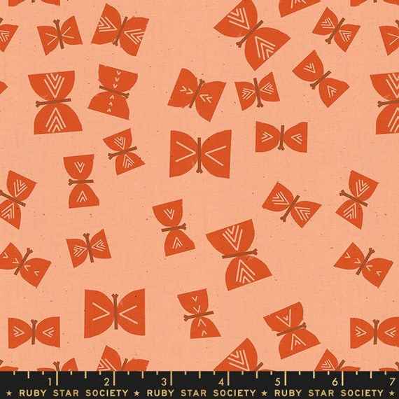 Add It Up and Alma by Alexia Marcelle Abegg -- Ruby Star Society Fabric, RS4002-16 Fat Quarter of Alma Butterflies Persimmon