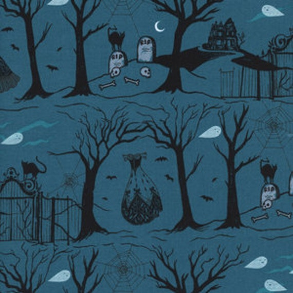 Boo by Cotton and Steel House Designer - Fat Quarter- Hallow Lane in Blue Pearized