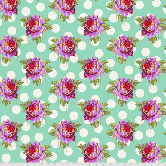 Fat Quarter Painted Roses in Wonder - Tula Pink's Curiouser and Curiouser for Free Spirit Fabrics