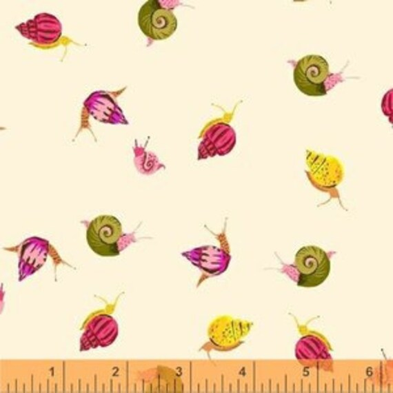 Heather Ross Sleeping Porch for Windham Fabrics - Fat Quarter Snails in Cream