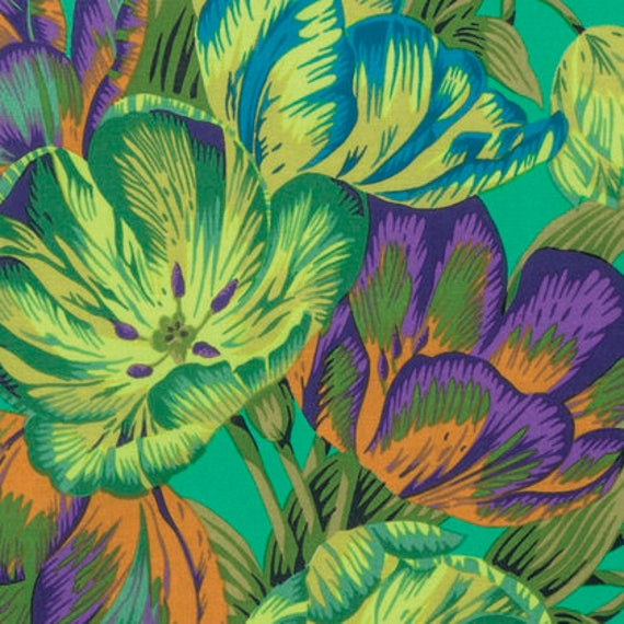 Kaffe Fassett Collective  -- Fat Quarter of Philip Jacobs Tulip Extravaganza in Green