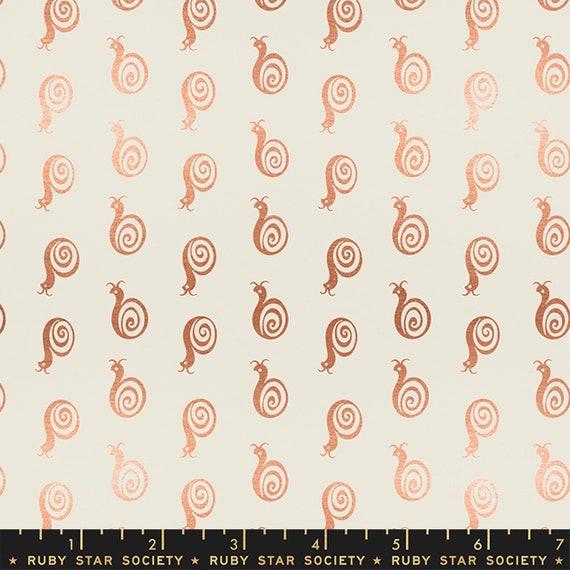 Liana-- Ruby Star Society Fabric, RS3011-11M Snaily in Metallic Cream by Kimberly Kight -- Fat Quarter