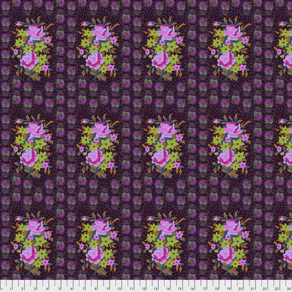 Hindsight by Anna Maria Horner for Free Spirit Fabrics- Fat Quarter of Stitched Bouquet in Eggplant