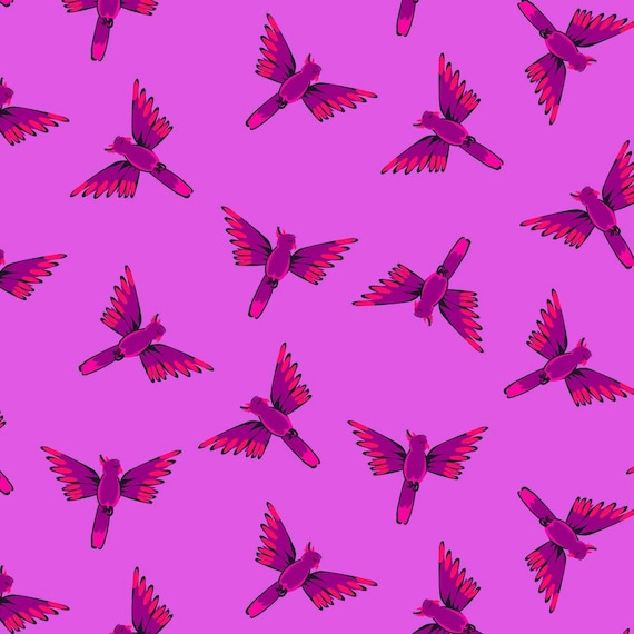 Night Jungle by Elena Essex for Dashwood Studio - Fat Quarter of Parrots in Hot Pink