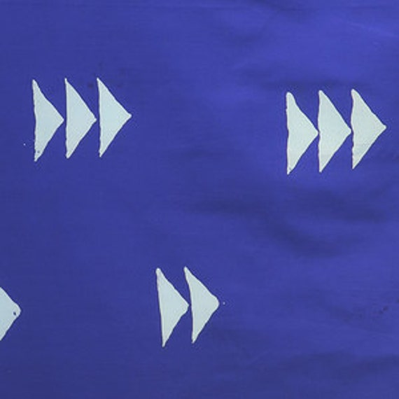 Fat Quarter of -- Flying Geese in Cobalt -- Handcrafted Indigos by Alison Glass