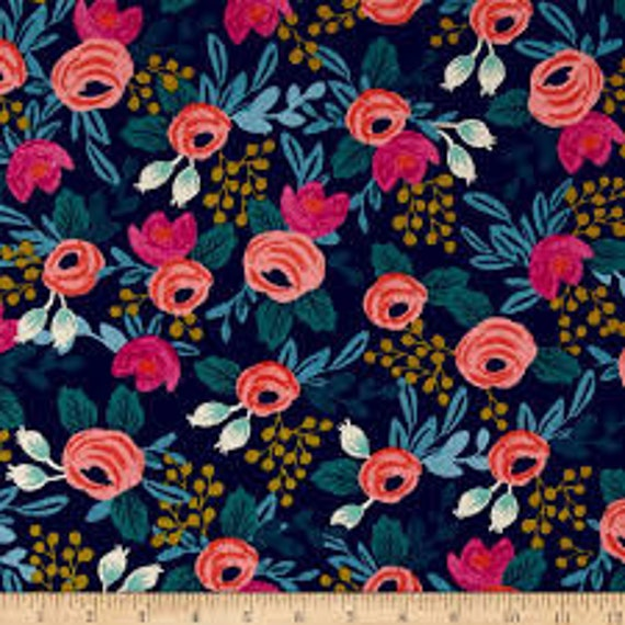 Menagerie CANVAS Rosa in Navy of by Rifle Paper Company for Cotton and Steel