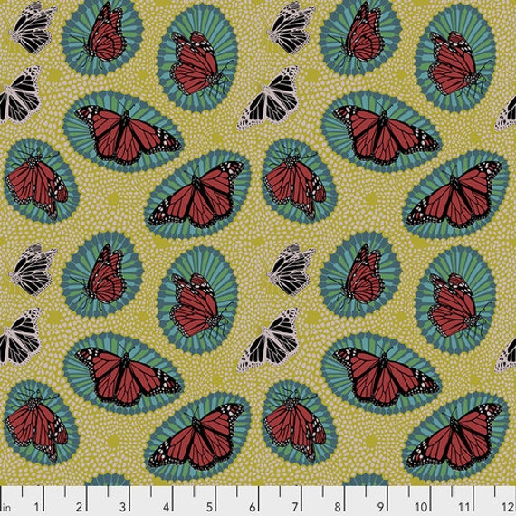 One Mile Radiant by Anna Maria Horner for Conservatory Chapter 3 with Free Spirit Fabrics- Fat Quarter of Monarch in Golden