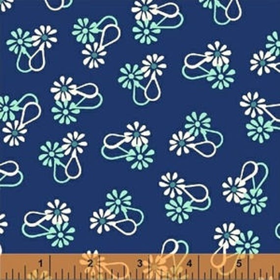 Hello Jane by Allison Harris for Windham Fabrics - Floral in Navy - Fat Quarter