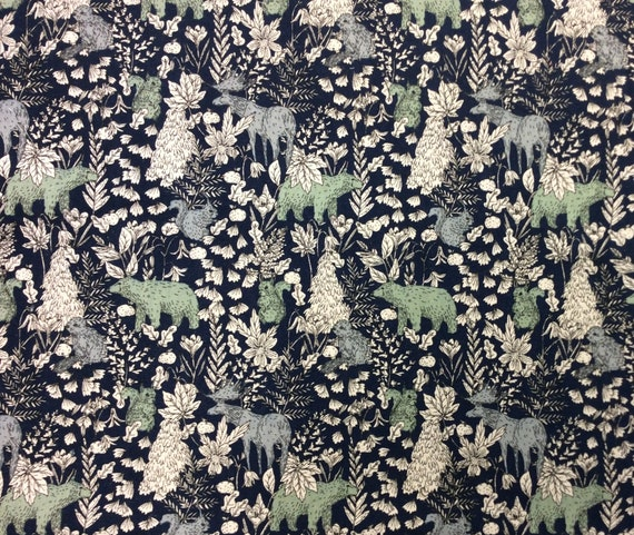Bear Moose Cotton Flax Fabric in  Navy Colour by Robert Kaufman = fat quarter