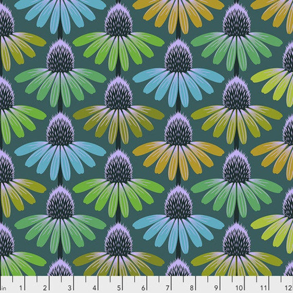 Hindsight by Anna Maria Horner for Free Spirit Fabrics- Fat Quarter of Echinacea Glow in Algae