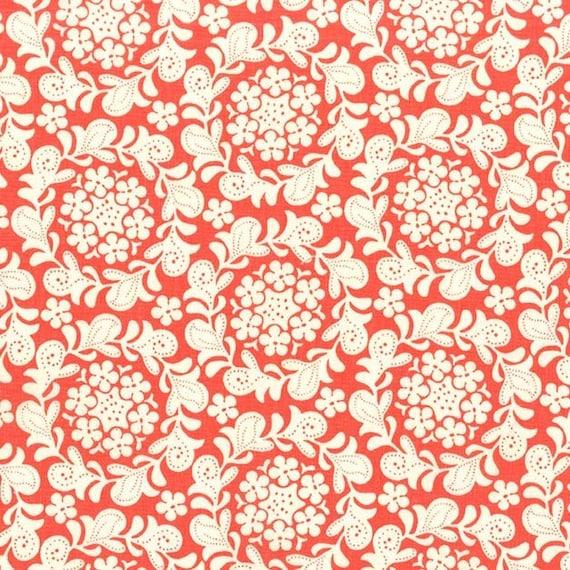 Strawberry Moon bySandi Henderson for Michael Miller - Petite Henna Garden in Coral - Fat Quarter