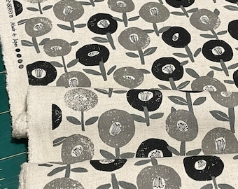 Floral Cotton Flax Fabric in Grey and Black by Robert Kaufman = fat quarter
