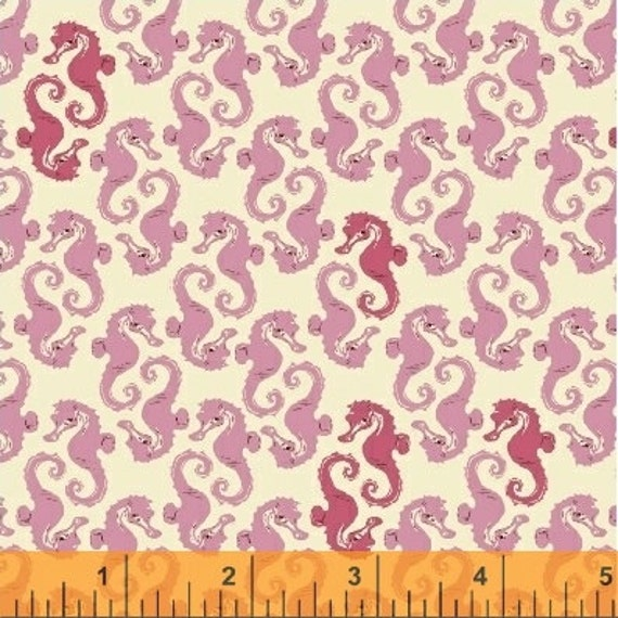 Heather Ross Mendocino for Windham Fabrics - Seahorses Pink on Cream