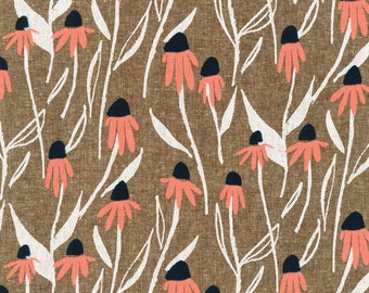 Quarry Trail by Anna Graham for Robert Kaufman, 100% Cotton Linen Canvas -- 25cm -- Coneflowers in Nutmeg