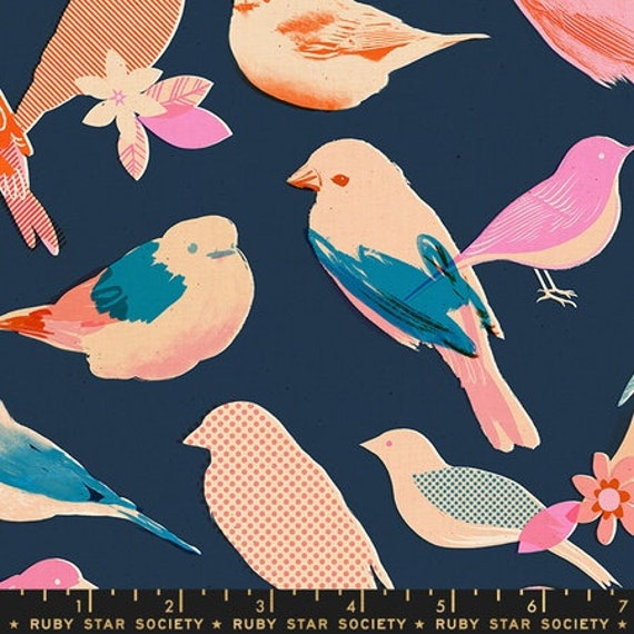 Social and Spark -- Social in Navy Birds (RS000216) by Ruby Star Society for Moda -- Fat Quarter