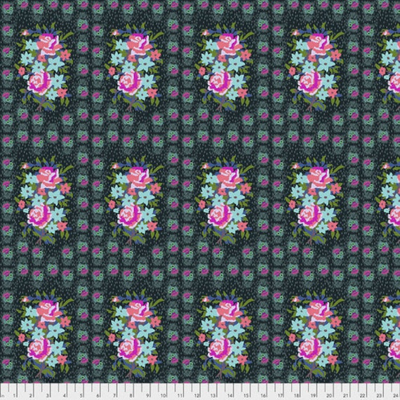 Hindsight by Anna Maria Horner for Free Spirit Fabrics- Fat Quarter of Stitched Bouquet in Dim