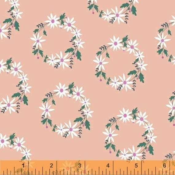 Daisy Chain by Annabel Wrigley for Windham Fabrics - Flower Crown in Peach